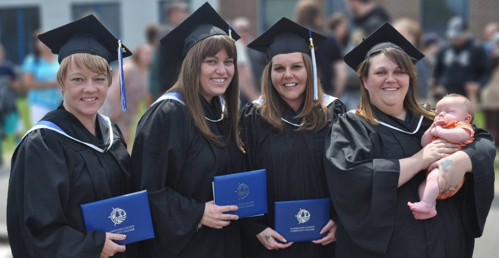 Group of women in graduation gowns